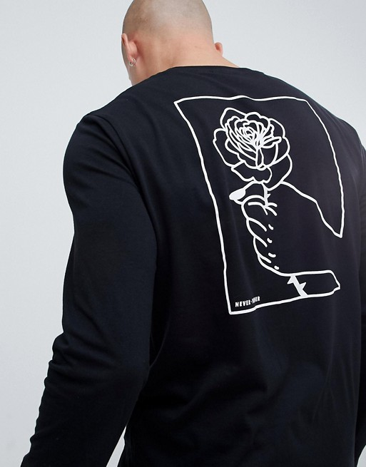 Image 1 of ASOS DESIGN long sleeve t-shirt with hand and rose back print