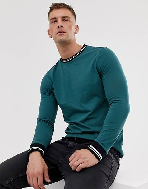 ASOS DESIGN long sleeve t-shirt with tipping in green