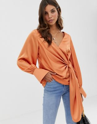 ASOS DESIGN long sleeve v neck top with drape front and cuffs
