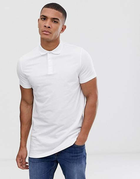 ASOS DESIGN longline jersey polo in white