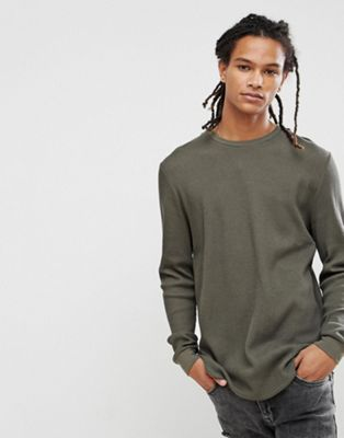 Image 1 of ASOS DESIGN longline long sleeve t-shirt in waffle with curve hem in khaki