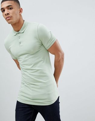 Image 1 of ASOS DESIGN longline muscle fit polo with curved hem in green