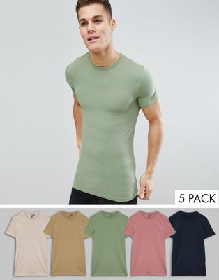 ASOS DESIGN Longline Muscle Fit T-Shirt With Crew Neck And Stretch 5 Pack Save