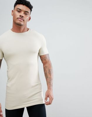 ASOS DESIGN longline muscle fit t-shirt with crew neck and stretch in beige