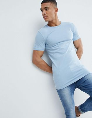 ASOS DESIGN longline muscle fit t-shirt with crew neck and stretch in blue