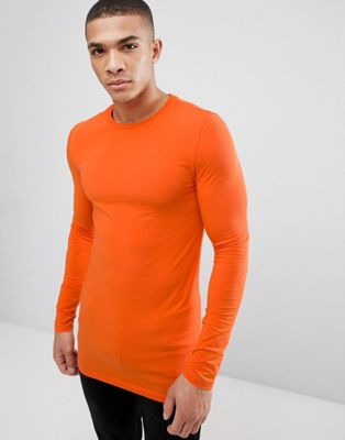 ASOS DESIGN longline muscle fit t-shirt with long sleeve in orange