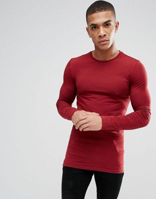 ASOS DESIGN longline muscle fit t-shirt with long sleeves in red