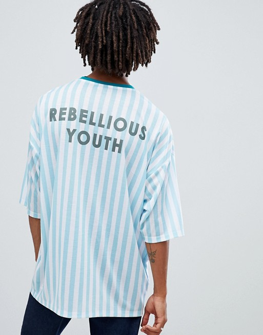 Image 1 of ASOS DESIGN Longline Oversized Vertical Stripe T-Shirt With Rebelious Youth Back Print