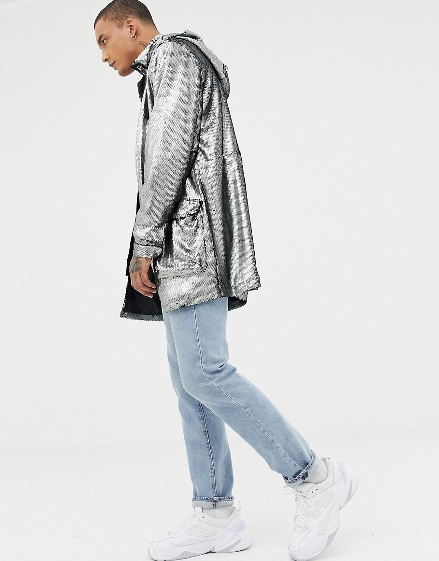 Asos Design Longline Sequin Parka In Silver by Asos Design