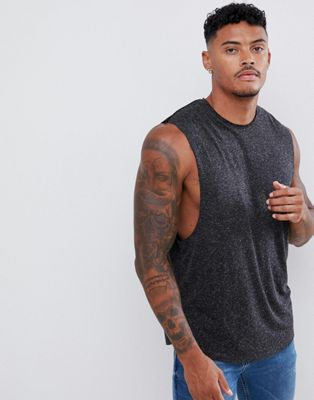 ASOS DESIGN longline sleeveless t-shirt with raw neck and curved hem in linen mix in black