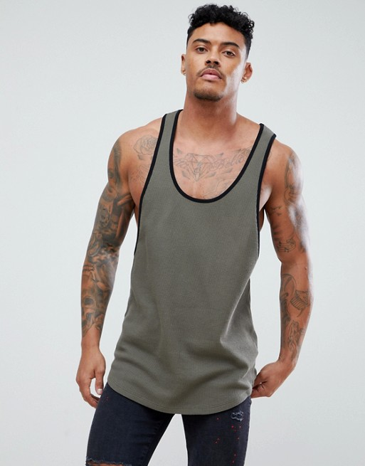 Image 1 of ASOS DESIGN longline tank with contrast binding and extreme racer back in waffle in khaki