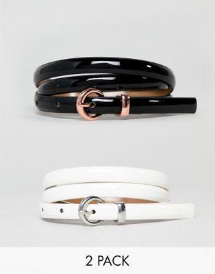 ASOS DESIGN - Lot de 2 ceintures fines vernies taille et hanches