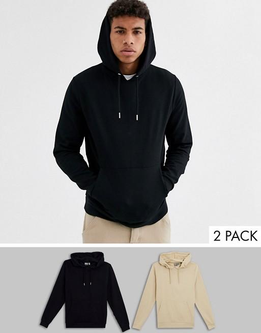 ASOS DESIGN - Lot de 2 hoodies en tissu biologique - Noir/beige SxW5i1