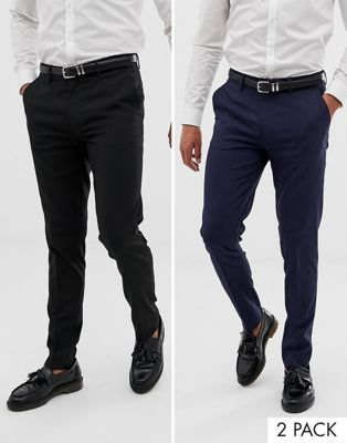 ASOS DESIGN - Lot de 2 pantalons coupe skinny - Noir et bleu marine - ÉCONOMIE