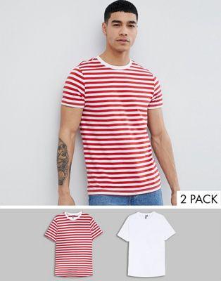 ASOS DESIGN - Lot de 2 t-shirts en coton biologique - Rayures rouges/blanc uni - ÉCONOMIE