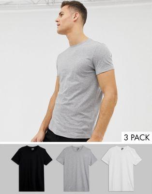 ASOS DESIGN - Lot de 3 t-shirts ras de cou - Économie