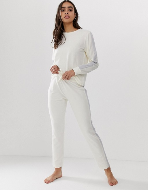 ASOS DESIGN lounge minimal side stripe sweat & jogger set