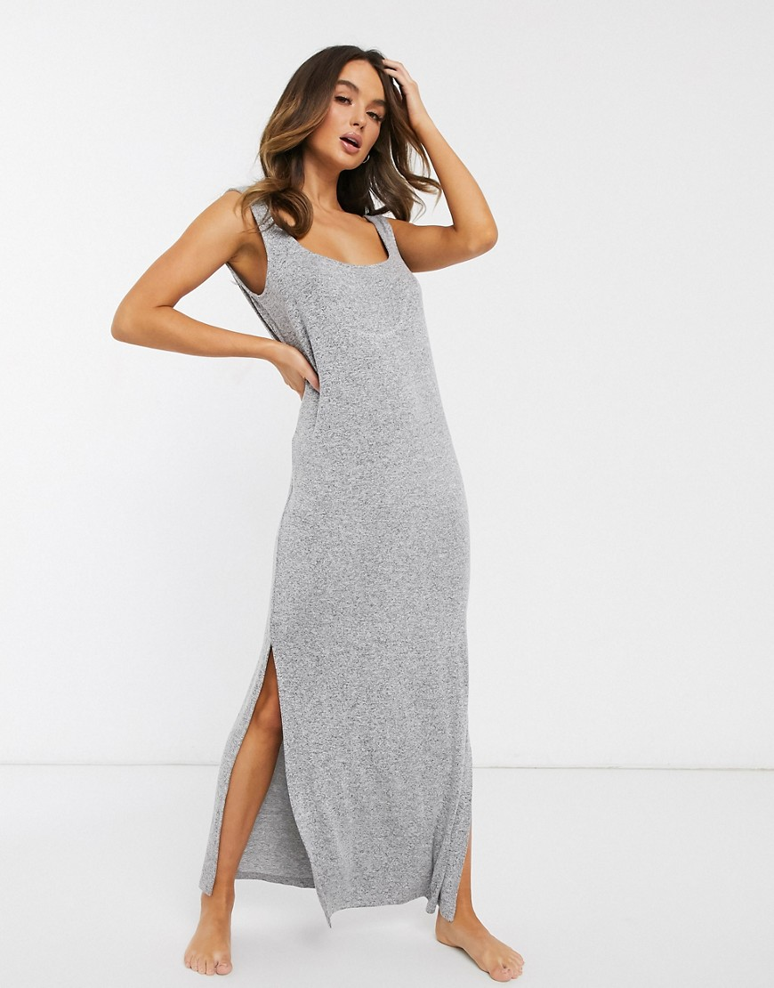 asos design lounge rib knit dress-grey