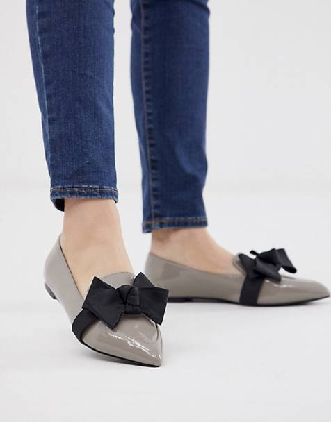 ASOS DESIGN Ludo bow pointed ballet flats in gray