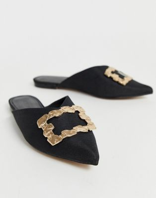 ASOS DESIGN Luminate embellished mules in black