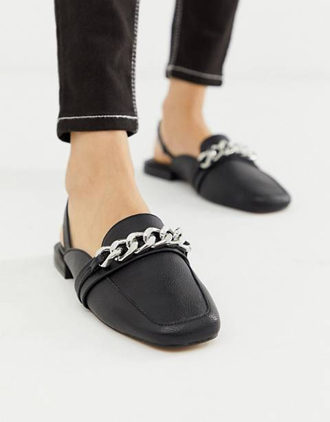 ASOS DESIGN Made chain detail square toe loafers in black