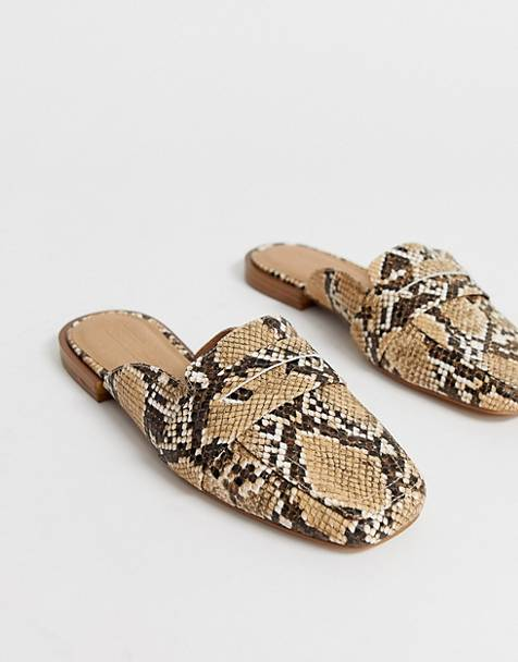 ASOS DESIGN Majestic mule loafer in snake