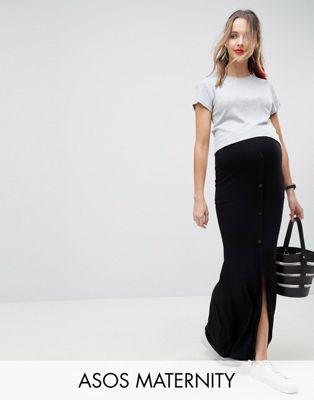 Bild 1 av ASOS DESIGN Mammakläder Maxiklänning med knappar framtill och slitsdeltj