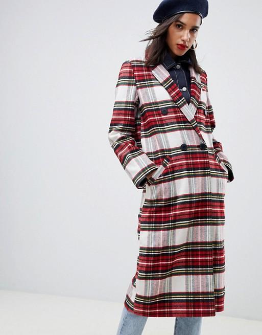 ASOS DESIGN - Manteau long à carreaux écossais