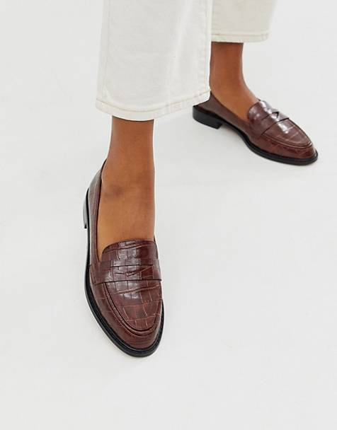 ASOS DESIGN Mantra loafer flat shoes in brown croc