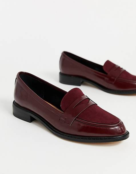 ASOS DESIGN Mantra loafer flat shoes in burgundy