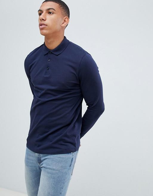 Bild 1 von ASOS DESIGN – Marineblaues, langärmliges Polohemd aus Jersey