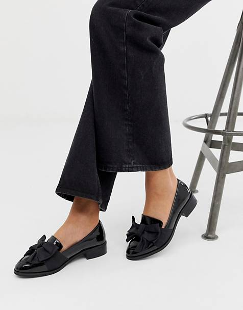 ASOS DESIGN Matchsticks flat shoes in black
