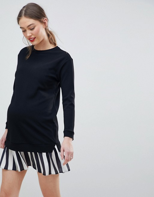 Image 1 of ASOS DESIGN Maternity 2 In 1 sweat dress with stripe pleated hem