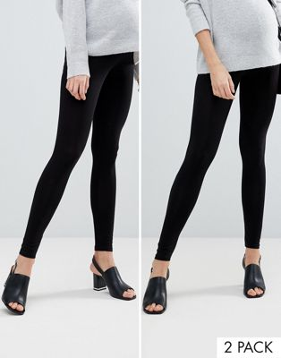 ASOS DESIGN Maternity 2 pack over the bump high waisted leggings in black