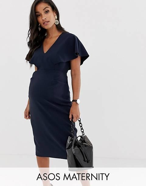 ASOS DESIGN Maternity angel sleeve midi pencil dress