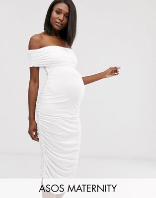 ASOS DESIGN Maternity bardot midaxi dress with ruched sides