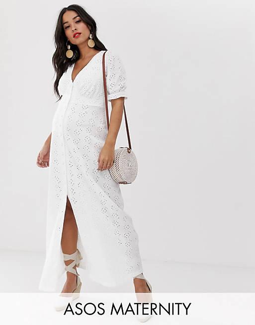 ASOS DESIGN Maternity broderie maxi tea dress