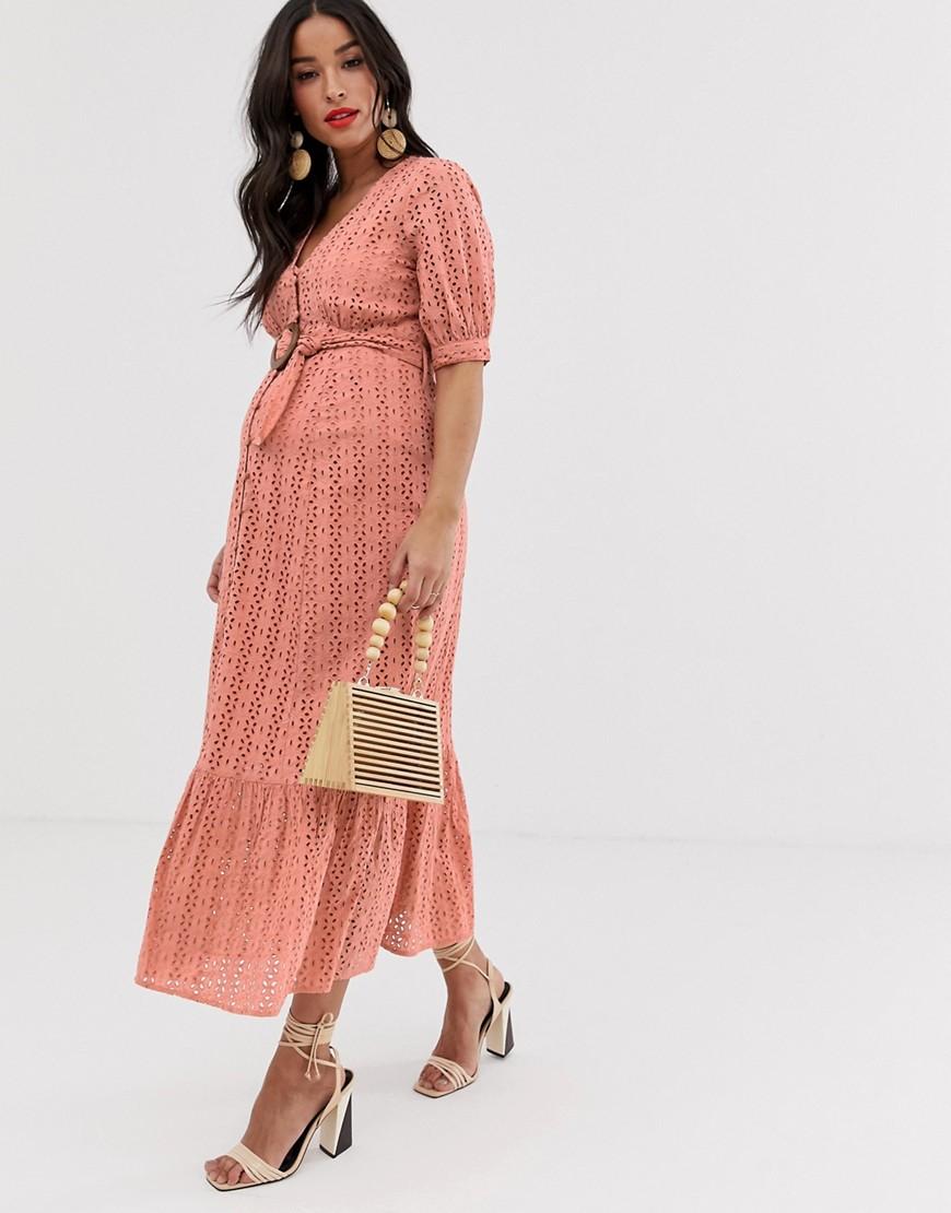 Asos Design Maternity Broderie Pephem Maxi Dress With Wooden Belt by Asos Design