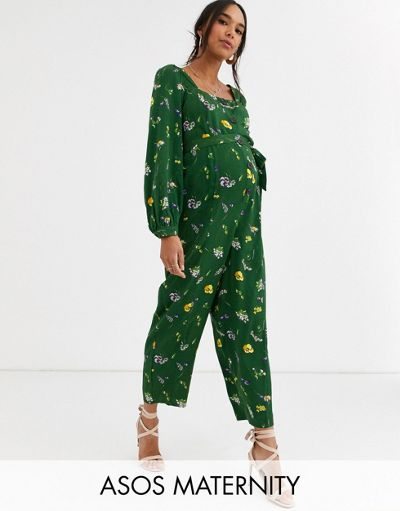 ASOS DESIGN Maternity button front tie waist puff sleeve jumpsuit with long sleeves in green floral print