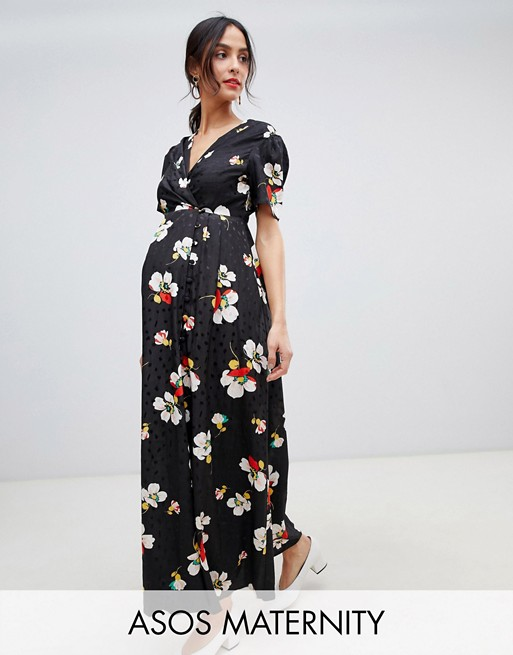 ASOS DESIGN Maternity button through maxi tea dress in floral jacquard