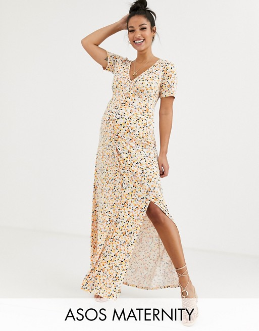 ASOS DESIGN Maternity button through maxi tea dress with splits in ditsy print