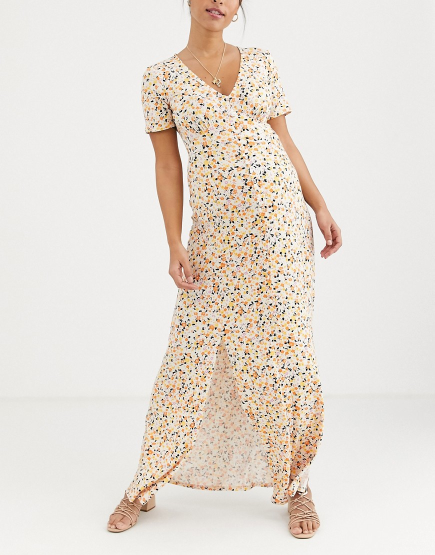 Asos Design Maternity Button Through Maxi Tea Dress With Splits In Ditsy Print by Asos Design