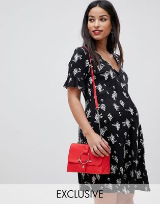ASOS DESIGN Maternity button through tea dress with frill sleeve in ditsy print