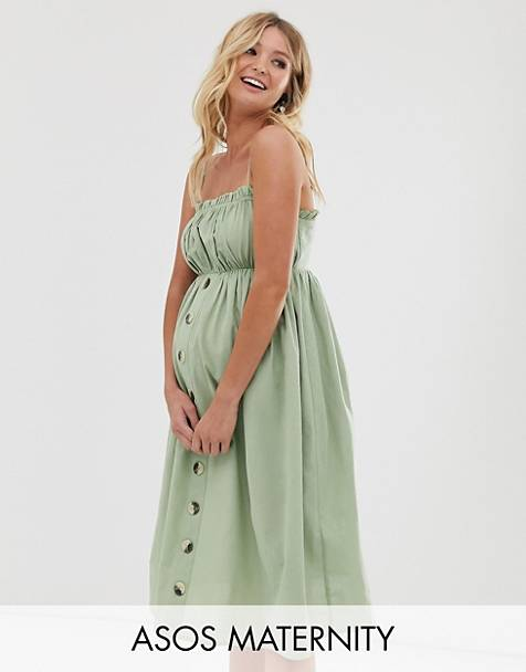 d487cd95e715a ASOS DESIGN Maternity cami button through midi linen sundress