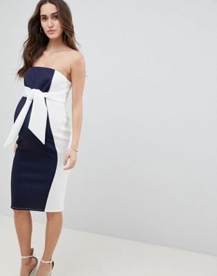 ASOS DESIGN Maternity colour block bandeau scuba midi dress