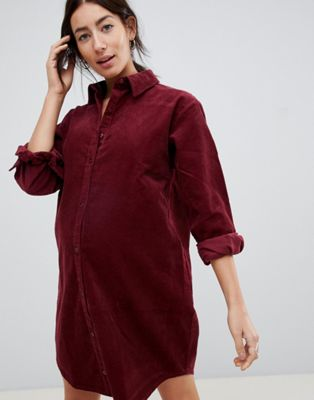 ASOS DESIGN Maternity cord shirt dress in oxblood