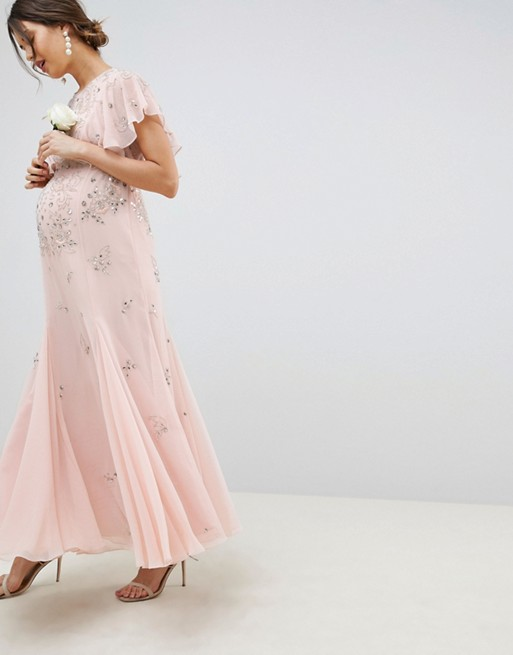 Image 1 of ASOS DESIGN Maternity delicate embellisheds maxi dress with angel sleeve