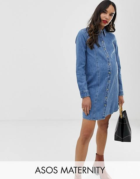ASOS DESIGN Maternity denim fitted western shirt dress in midwash blue