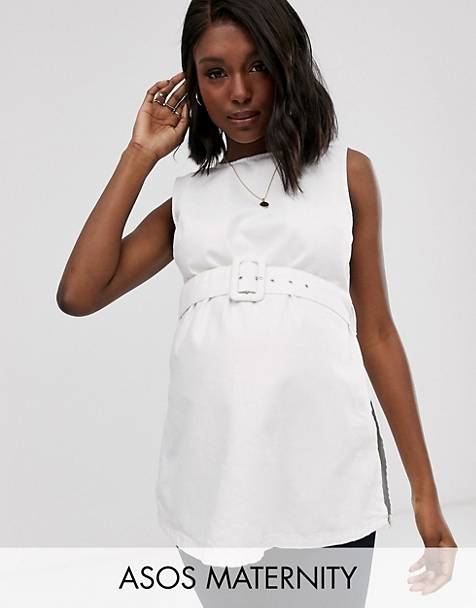 2e5e31a9a377b ASOS DESIGN Maternity denim longline tank top with belt in white