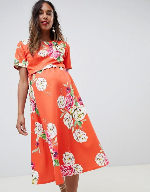 2b91a5dc0d12d Image 1 of ASOS DESIGN Maternity double layer midi dress in floral print